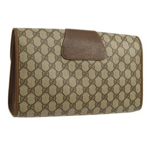 Gucci Gg Pvc Leather Brown Clutch