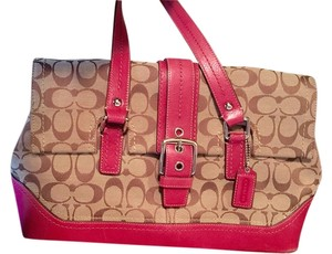 Coach Satchel in Khaki/ Berry