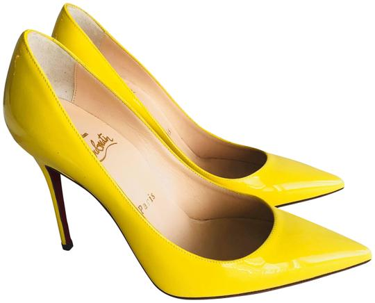 Christian Louboutin Pointed Toe Polished Red Soles Decollete Yellow Queen Pumps Image 1