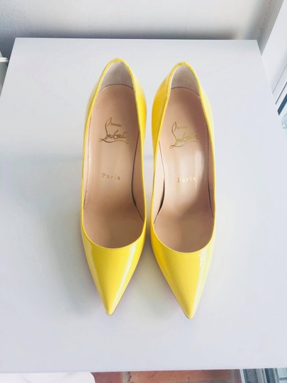 Christian Louboutin Pointed Toe Polished Red Soles Decollete Yellow Queen Pumps Image 3