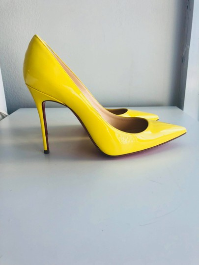 Christian Louboutin Pointed Toe Polished Red Soles Decollete Yellow Queen Pumps Image 4