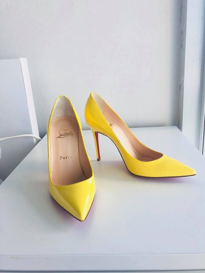 Christian Louboutin Pointed Toe Polished Red Soles Decollete Yellow Queen Pumps Image 5