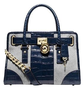 Michael Kors Limited Edition Crocodile Alligator Canvas Embossed Satchel in Navy Blue Croc