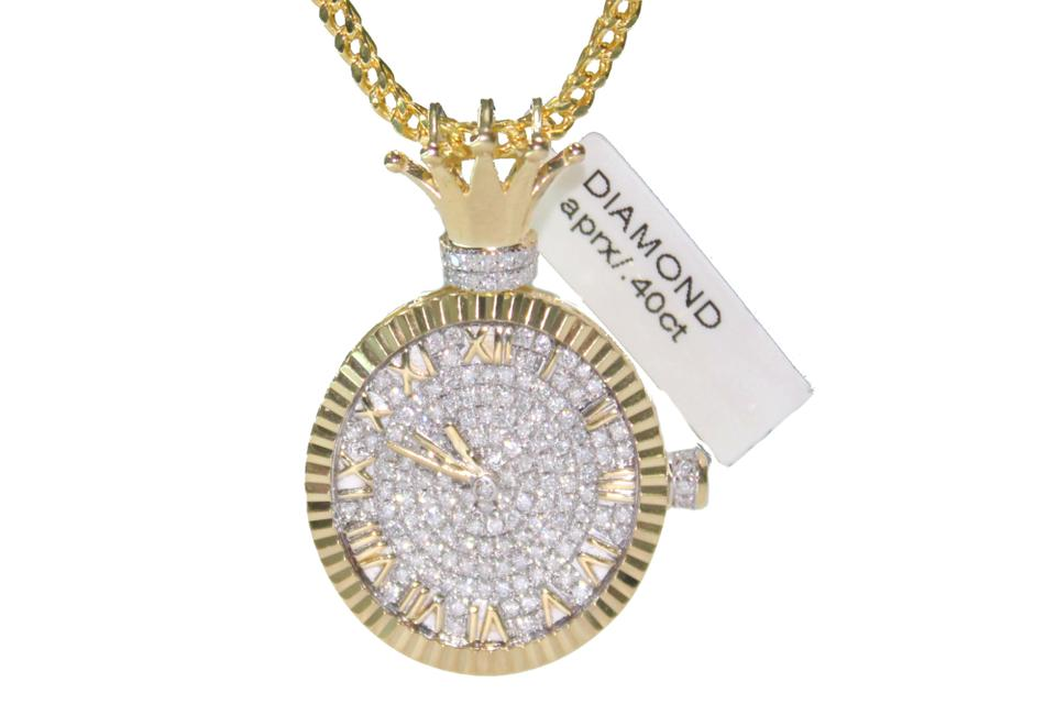Diamond 10k yellow gold franco chain with clock pendant charm other diamond 10k yellow gold franco chain with diamond clock pendant charm aloadofball Choice Image