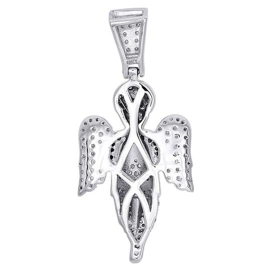 Jewelry For Less 10K White Gold Diamond Praying Angel with Wings Pendant Charm 0.66 ct Image 2