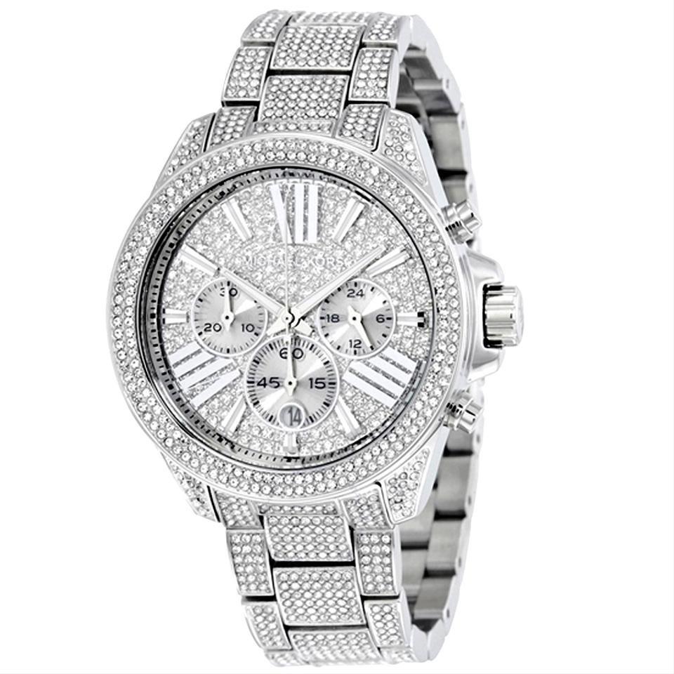 bff4423d7a2f Michael Kors Silver Crystal Pave Stainless Steel Dial Ladies Bracelet Watch  Image 0 ...
