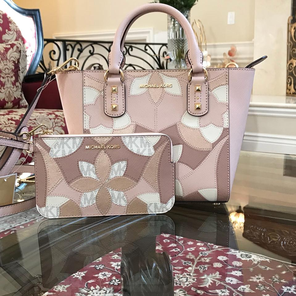 ba60909b973c Michael Kors Mk Saffiano Leather Patchwork Spring Mothers Day Satchel in  ballet Image 0 ...