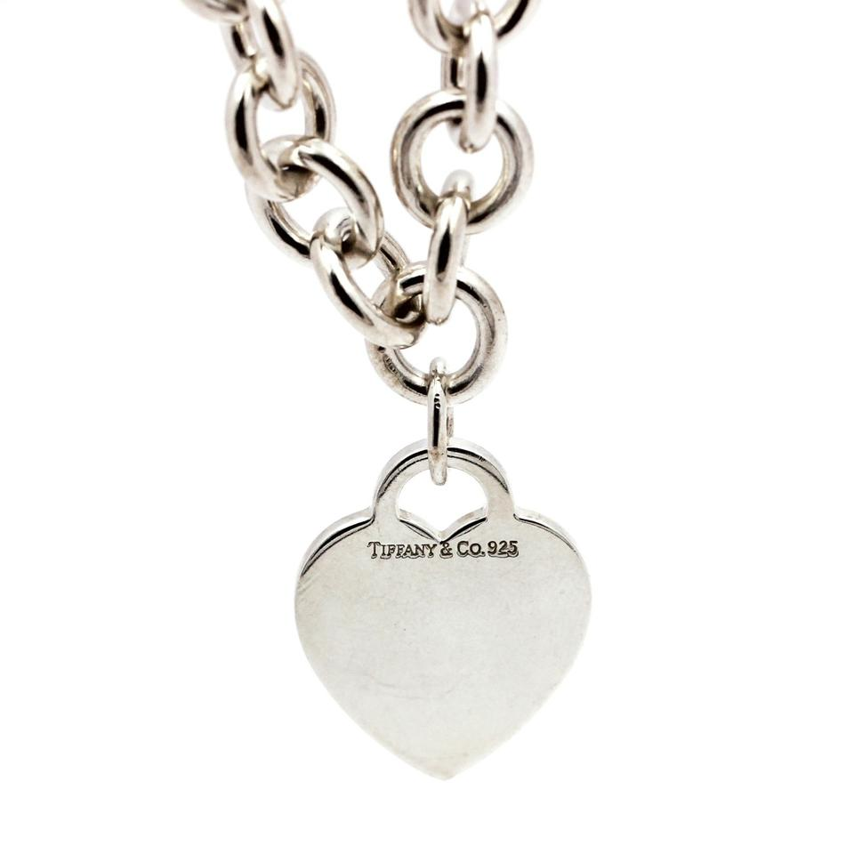 7a50f8c0a Tiffany & Co. Silver Engravable Heart Tag Choker Sterling Necklace ...