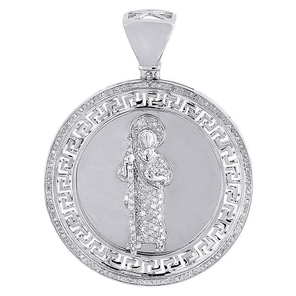 Jewelry for less silver diamond jesus pendant mens 925 sterling jewelry for less diamond jesus pendant mens 925 sterling silver greek key charm 85 aloadofball Image collections