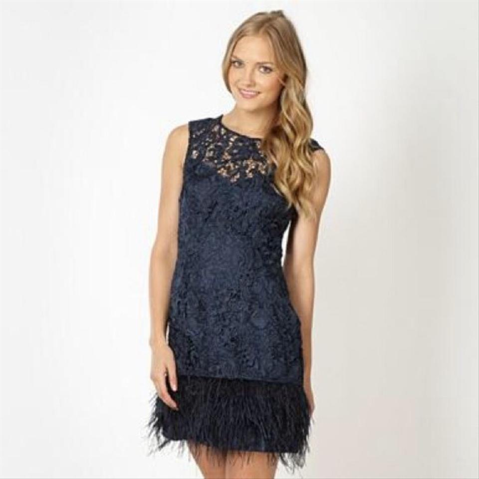Lipsy Navy Vip Waxed Lace Shift with Feather Trim Short Cocktail ...