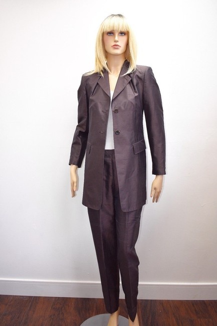 Whistles Whistles Brown 100% Silk Pants Suit Made In Italy Size 6 On Sale ps Image 1