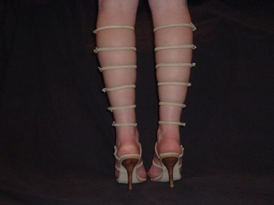 Other Leg Strap Buckle Sexy High Riding Beige Suede Sandals