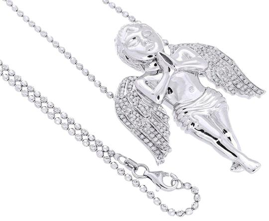 Preload https://img-static.tradesy.com/item/22904816/jewelry-for-less-silver-diamond-angel-pendant-925-sterling-and-2mm-bead-chain-085-ct-charm-0-1-540-540.jpg