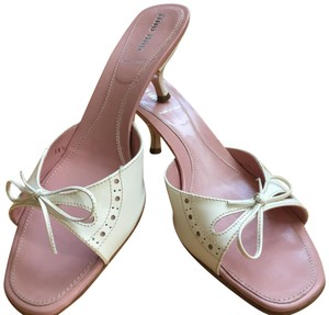 Miu Miu Patent Leather Kitten Heels Bow Brogue Pink Insoles White Sandals
