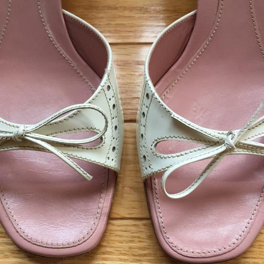 Miu Miu Patent Leather Kitten Heels Bow Brogue Pink Insoles White Sandals Image 2