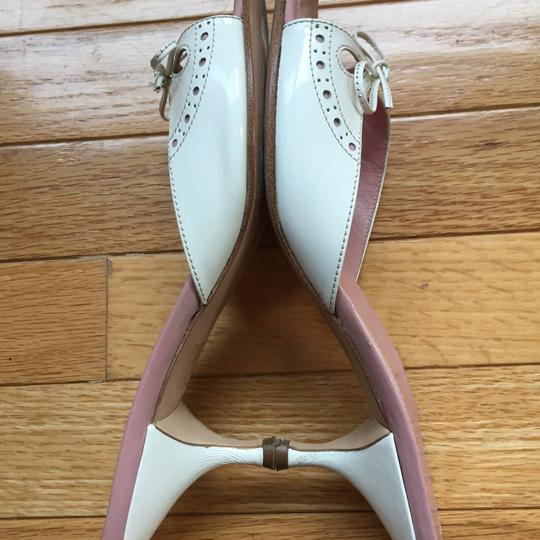 Miu Miu Patent Leather Kitten Heels Bow Brogue Pink Insoles White Sandals Image 5