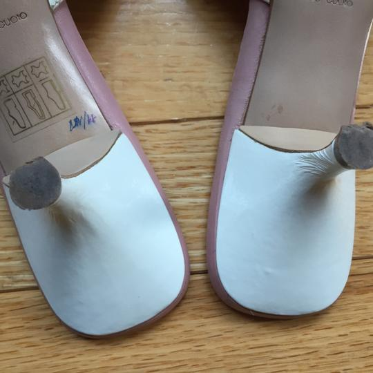 Miu Miu Patent Leather Kitten Heels Bow Brogue Pink Insoles White Sandals Image 7