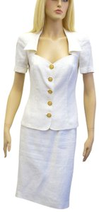 Emanuel Ungaro UNGARO Off White Linen Skirt Suit Made In France Size 40/6 On Sale ps
