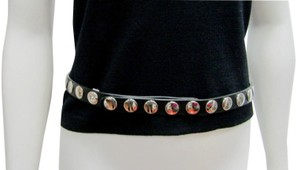 Dolce&Gabbana D&G Dolce and Gabbana Black Leather Belt Studded Silver Studs