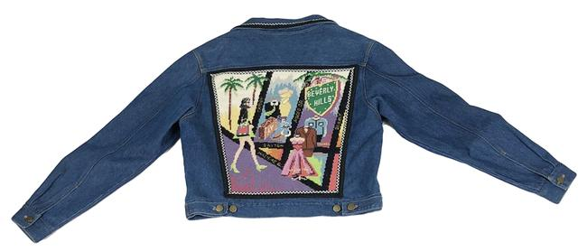 Kolorway Rodeo Drive Los Angeles Beverly Hills Needlepoint Multi-Color Womens Jean Jacket Image 2