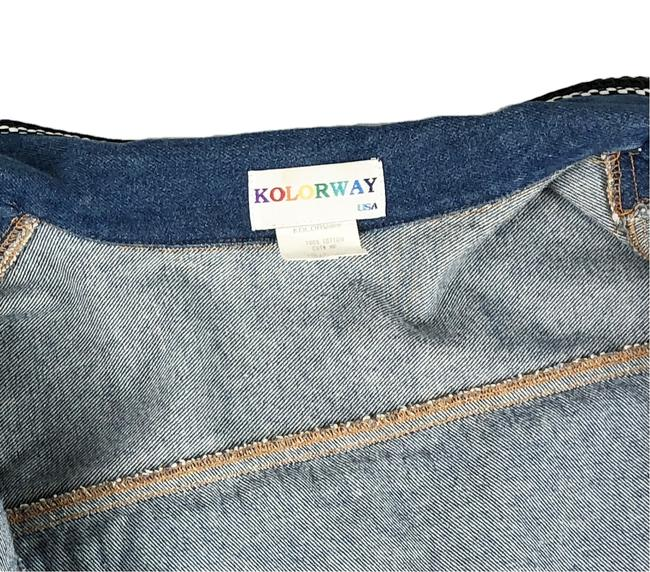 Kolorway Rodeo Drive Los Angeles Beverly Hills Needlepoint Multi-Color Womens Jean Jacket Image 5