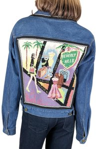 Kolorway Rodeo Drive Los Angeles Beverly Hills Needlepoint Multi-Color Womens Jean Jacket