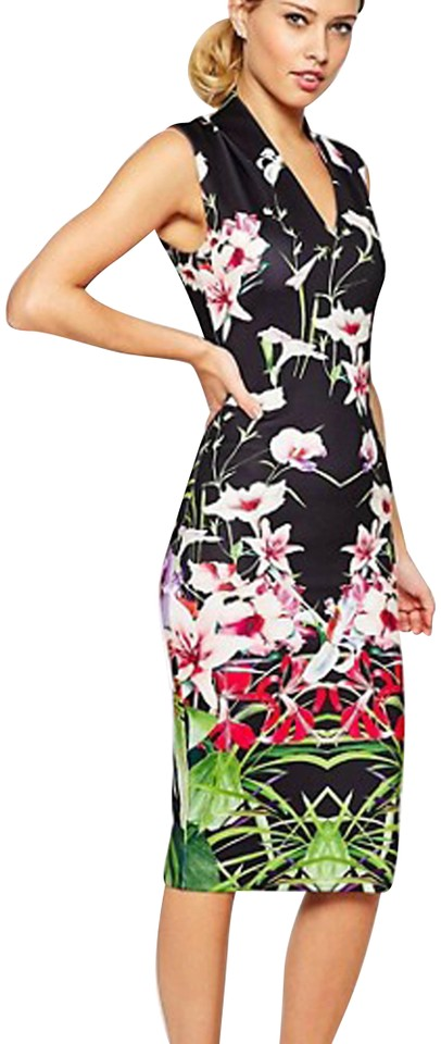 13416686e Ted Baker Black Jalita Mirrored Tropics Midi Mid-length Night Out ...