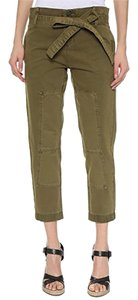 Blank Denim Tie Belt Pleated Ankle Cropped Cargo Pants Veg Out Green