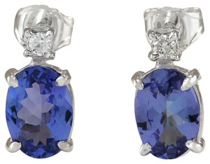 Fashion Strada 1.73 Carat Natural Tanzanite 14K White Gold Diamond Earrings