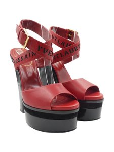 Saint Laurent Patent Leather Suede Ankle Strap red Platforms