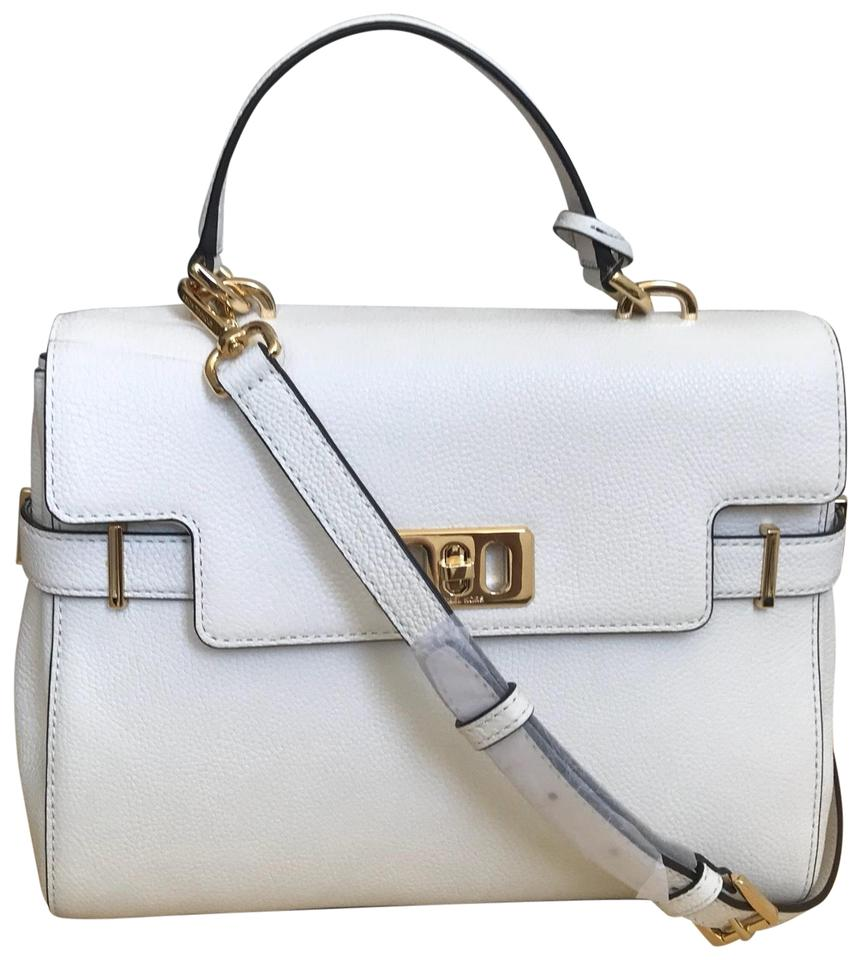 4491d7acba23c1 Michael Kors Karson Medium Pebbled White Saffiano Leather Satchel ...