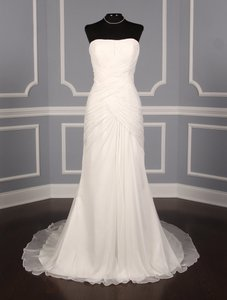 Pronovias Diamond White Chiffon Paraje Formal Wedding Dress Size 14 (L)