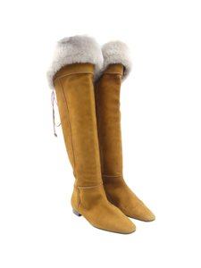 Manolo Blahnik Suede Fur Lace Up Knee High tan Boots