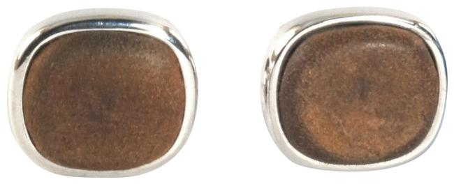 David Yurman Brown Mens Cufflinks Leather .925 Sterling Silver David Yurman Brown Mens Cufflinks Leather .925 Sterling Silver Image 1