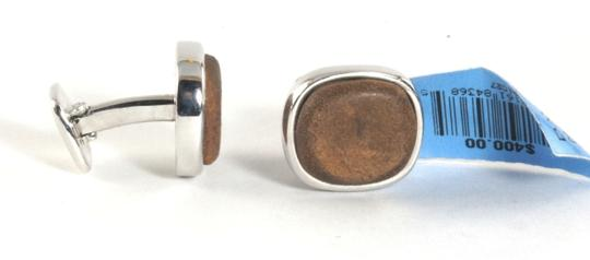 David Yurman DAVID YURMAN Mens Cufflinks Brown Leather .925 Sterling Silver