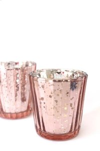 Blush Pink Rose Gold Mercury Glass Holders Votive/Candle