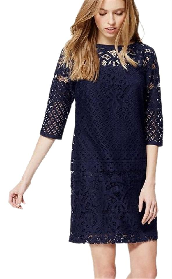 Ann Taylor LOFT Navy Lace Shift Mid-length Cocktail Dress Size 0 (XS ...