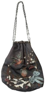 Valentino Evening Silk Floral Embroidery Chain Handle Charcoal Grey Clutch