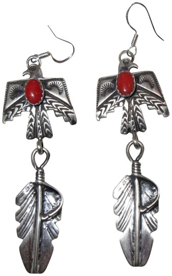 Silver Navajo Thunderbird Emer Thompson Sterling Coral Earrings Image 0