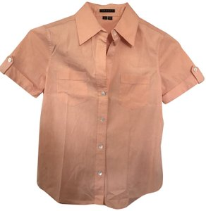 Theory Comfortable Stretchy Fitted Button Down Shirt Peach