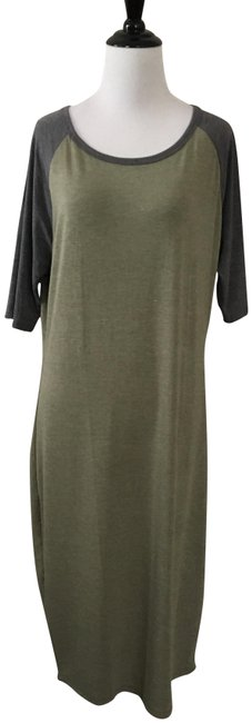 grey and green Maxi Dress by LuLaRoe Julia Fitted