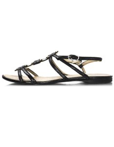 Chanel Patent Leather Black Sandals