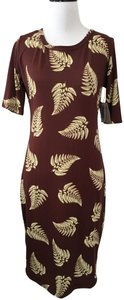 brown cream Maxi Dress by LuLaRoe Julia Fitted