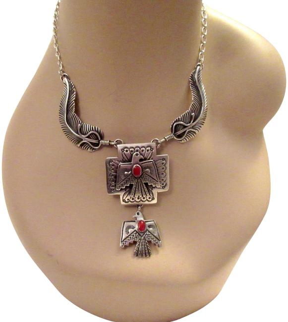 Silver Navajo Thunderbird Emer Thompson Sterling Coral Signed Necklace Silver Navajo Thunderbird Emer Thompson Sterling Coral Signed Necklace Image 1