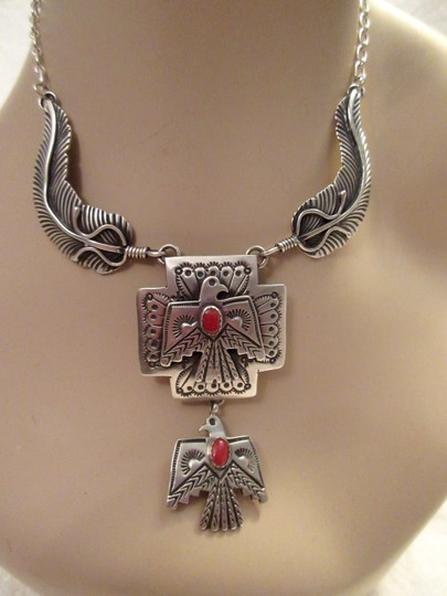 Other Navajo Thunderbird Necklace Emer Thompson Sterling Silver Coral Signed