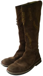 Camper Suede Knee-high Natural Rubber Sole Bohemian Tan Boots