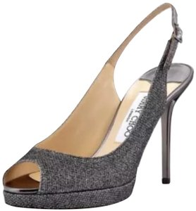 Jimmy Choo Slingback Nova Lame Pewter Platforms
