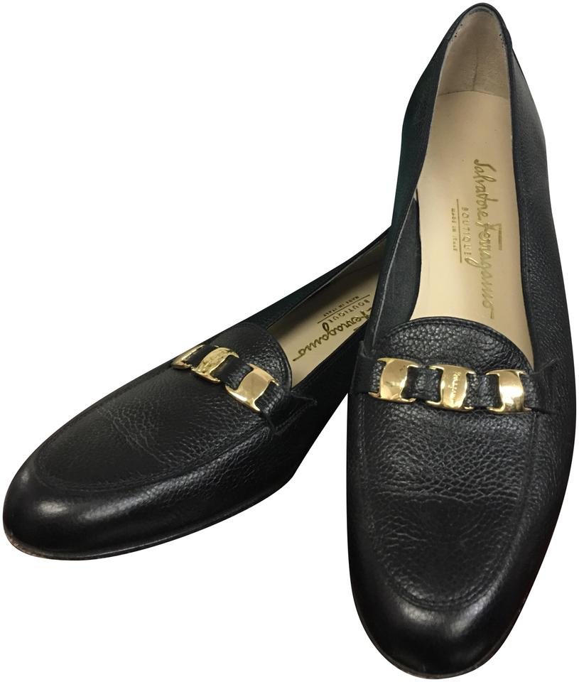fc041cf33023 Salvatore Ferragamo Black Leather Loafers Flats Size US 9 Narrow (Aa ...