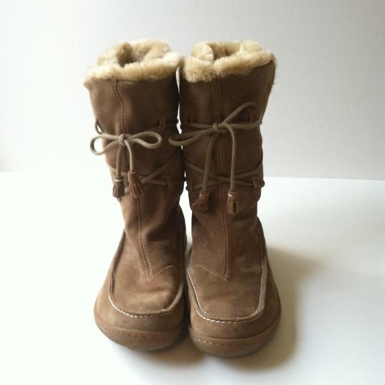 Camper Suede Faux Fur Moccassin Tan Boots