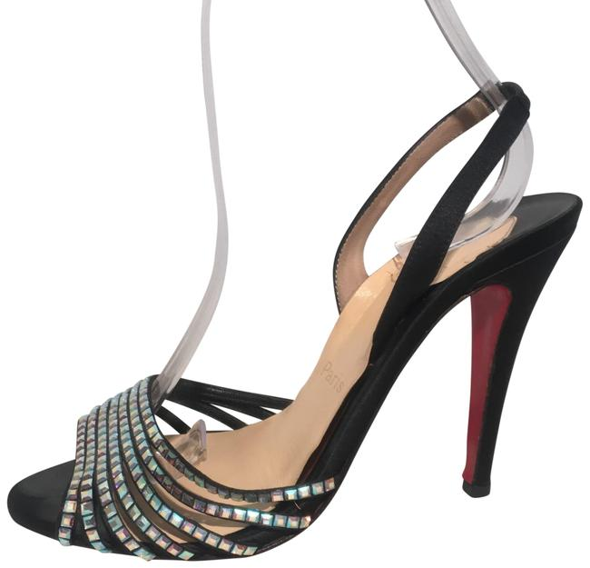 Christian Louboutin Black Crystal & Satin Slingbacks Formal Shoes Size EU 39 (Approx. US 9) Regular (M, B) Image 1